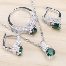 Bridal 925 Sterling Silver Jewelry Sets Green Zirconia Stone Earrings For Women Wedding Jewelry With Ring Pendant Necklace Set(China)