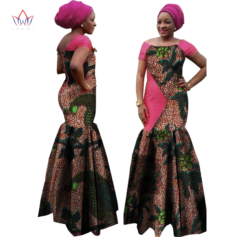 81876d651 BRW 2019 الصيف فساتين للنساء Dashiki الأفريقية خليط حزب فستان طويل بازان  القطن التقليدي الأفريقي الملابس WY1074