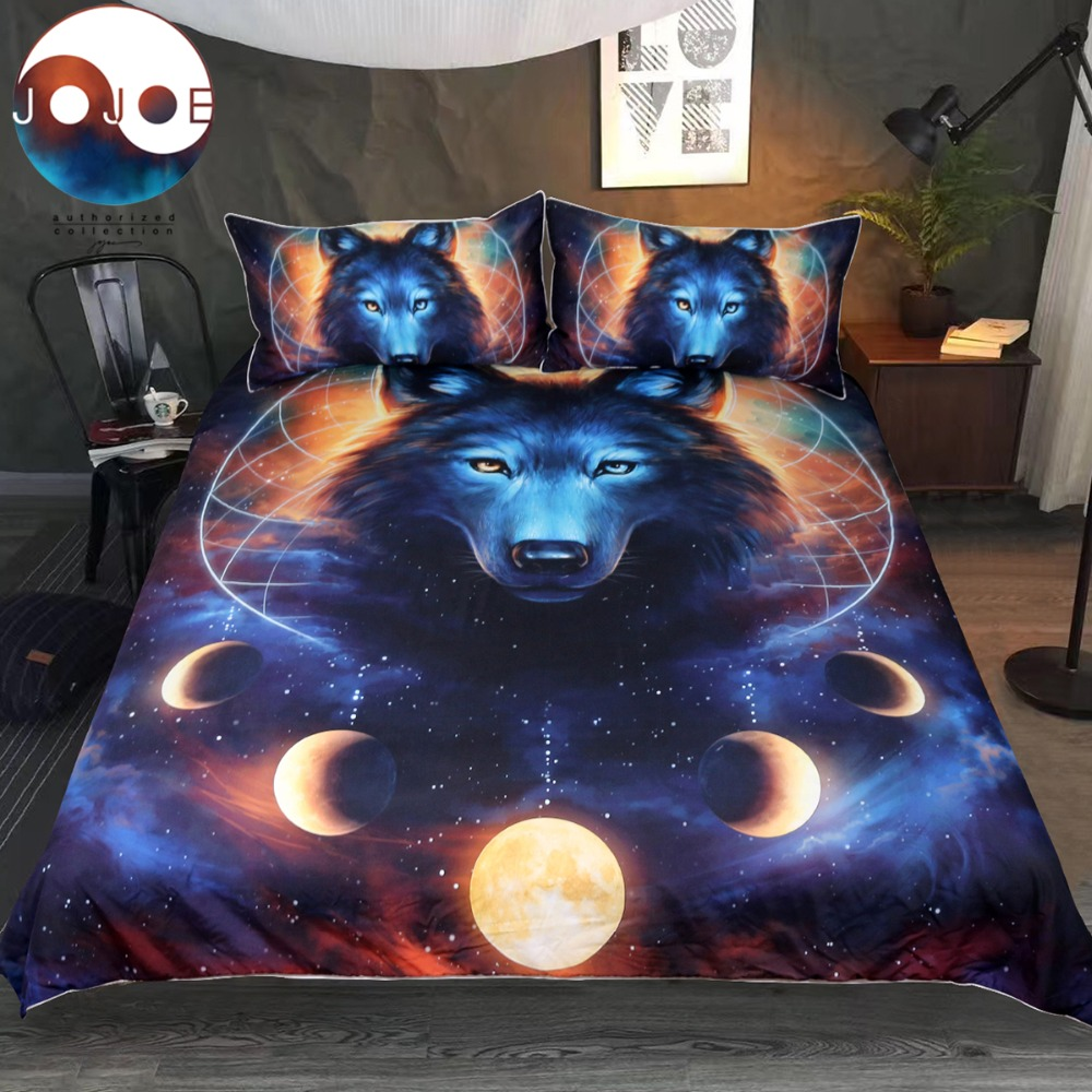 Dream Catcher By JoJoesArt Bedding Set Queen Moon Eclipse Duvet Cover Wolf Bed Set 3pcs Galaxy Print Bedclothes For Kids Adults