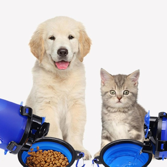 2 In 1 250ML Dogs Cats Feeding Feeder 350ML Dog Drinking Water Bottle Outdoor Travel Dual Purpose Food Storage Brings Two Bowls 5