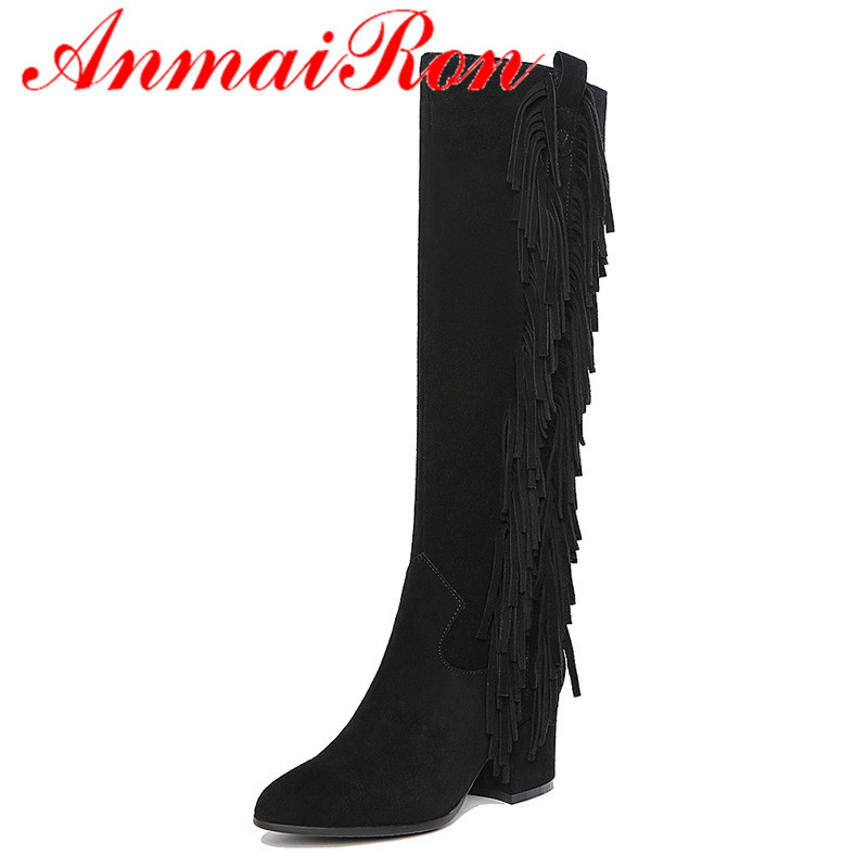 ANMAIRON New Cow Split Women Boots Shoes High Heels Knee-high Autumn/Winter Boots Big Size 34-40 Boots Flats Tassel Zip Black stylish women s knee high boots with tassel and black design