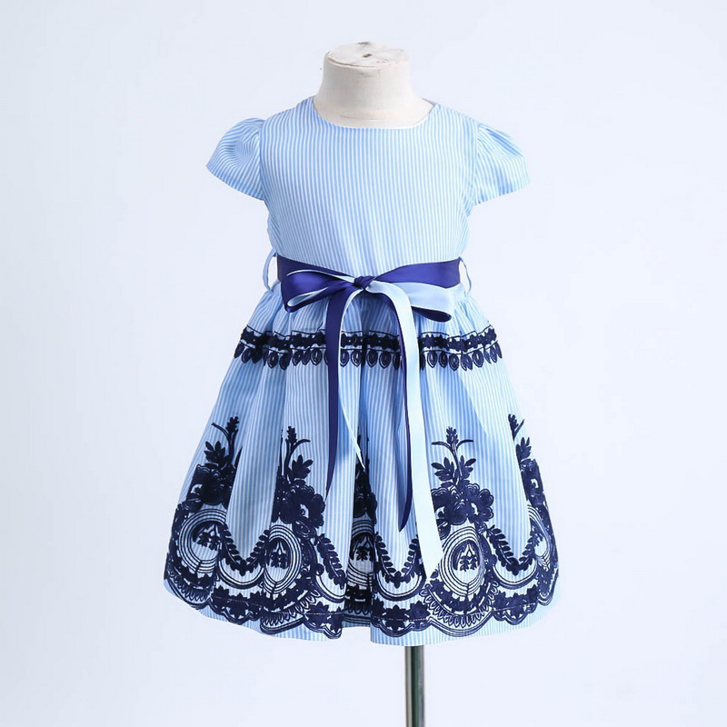 2019 Summer Blue Stripe Embroidery Dress For Baby Girls Children Cotton Causal Dress Kids Clothes 2-6Y LT011 3