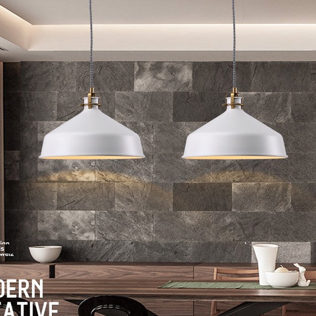 Nordic Modern White Round Pendant Lights Fixture Metal Droplight Home Indoor Kitchen Warehouse Dining Room Hang Lamp