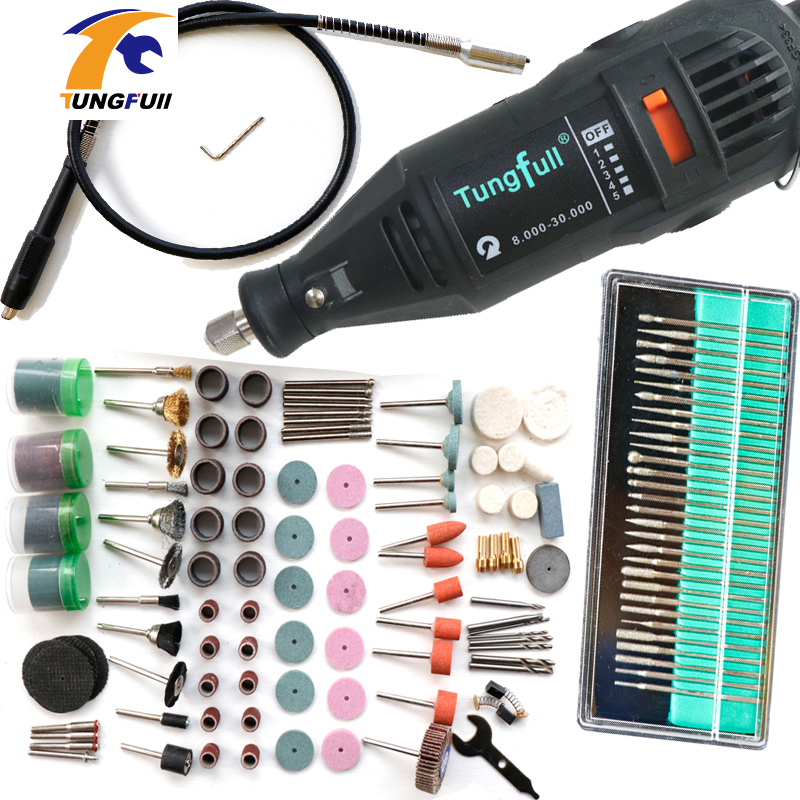 Dremel Style Electric Rotary Tool Variable Speed Mini Drill with Flexible Shaft and 192PC Accessories Power Tools 110V 220V 130W  tungfull 130w dremel style electric rotary tool variable speed mini drill with flexible shaft and 124pc accessories power tools