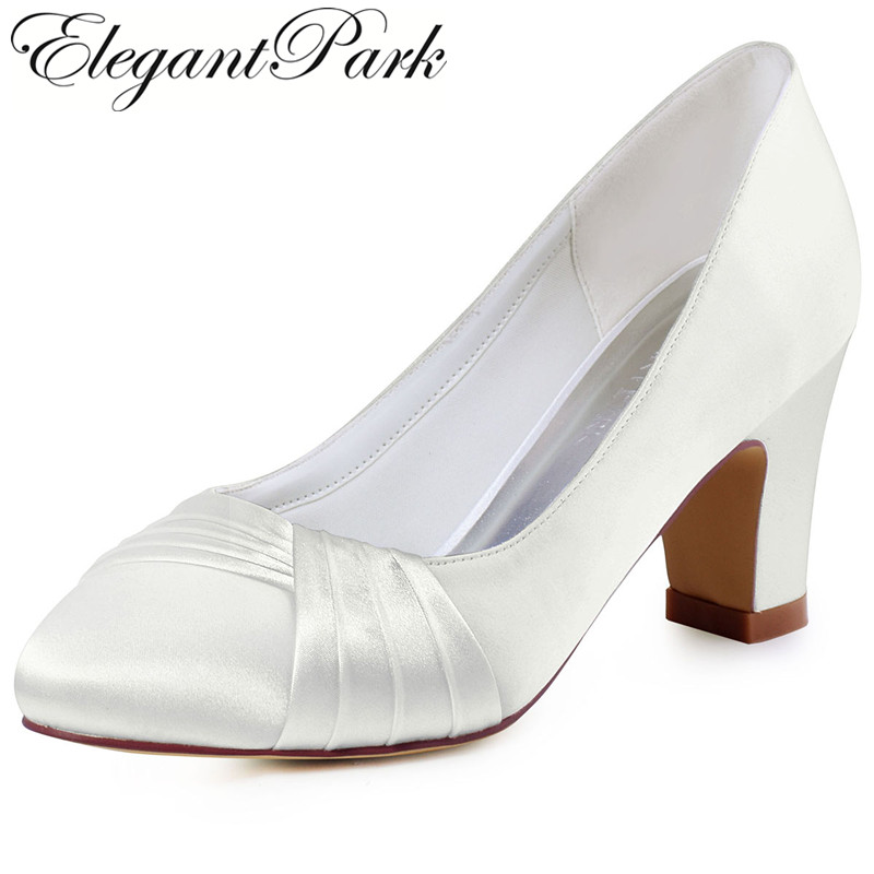 HC1608 Ivory Woman Mid Block Heel Comfort Shoes Satin Bride Lady Bridesmaids Wedding Bridal Prom Dress Pumps