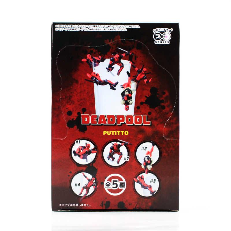 5 pçs/lote X-Men Toy Figura Deadpool Corpo Com Armas Espada Putitto Modelo Boneca Presente Das Crianças