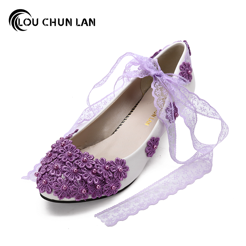 LOUCHUNLAN Purple Bridesmaid Shoes Women's Shoes Low-Heeled Lace Handmade Flower soft outsole Bridal Shoes Female Wedding Shoes new flower female bridesmaid shoes wedding shoes bridal shoes red high heeled shoes formal dress new arrive platform pumps