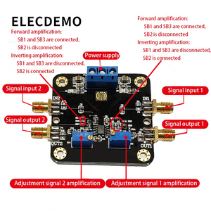 Image 2 - OPA2141 Modul JFET Verstärker Modul 10MHz Bandbreite Geräuscharm Niedrige Offset Niedrigen Temperatur Drift Schiene Funktion demo Board