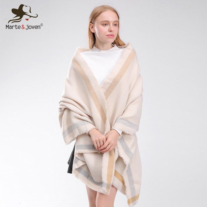 Marte&Joven Ultra-soft Thicken Imitation Cashmere Pashmina Beige <font><b>Scarves</b></font> for Female Fashion Oversized Winter Blanket <font><b>Scarf</b></font> Women