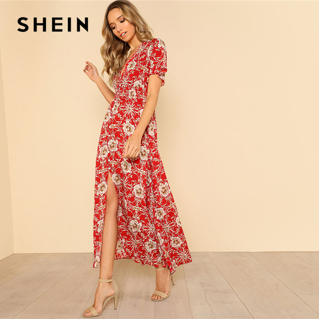1ef82bbf99a SHEIN Bouton Up Froncé Taille Floral Maxi Robe Femmes Rouge V cou À Manches  Courtes Taille