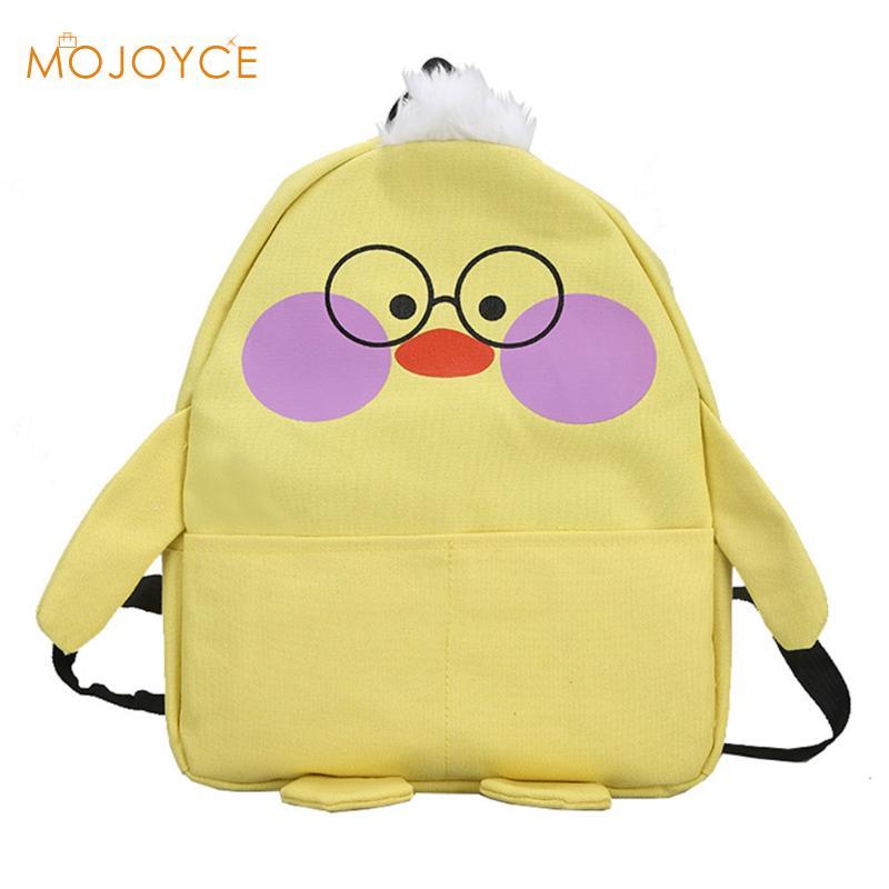 Casual Canvas School Backpack Women Lovely Thick Cute Duck Cartoon Backpack Teenager Large Capacity Ladies School Bag Backpack