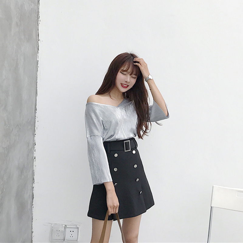Aliexpress.com : Buy Black Two Line Button A Line Skirt Korean ...