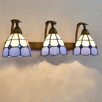 Tiffany Grid Glass Bathroom Wall Lamp Mirror Front Mediterranean Wall Sconce Metal Glass Corridor hallway Balcony Wall Lights