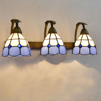 Tiffany Grid Glass Bathroom Wall Lamp Mirror Front Mediterranean Wall Sconce Metal Glass Corridor hallway Balcony Wall Lights