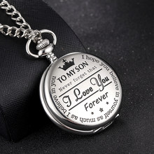 DXJEL Quartz Pocket Chain Watch To My Son I Love You Necklace Watches For Men Children's Day Kids Gift Present reloj de bolsillo(China)