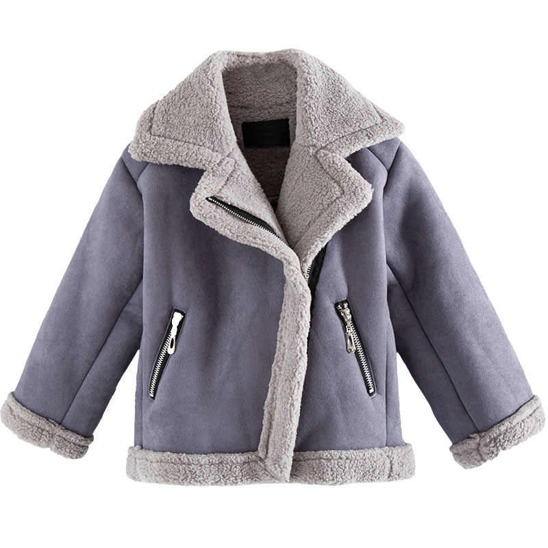 Girl Suede Jackets Autumn Winter Thick Lambs Wool Short Motorcycle Coats Baby Girls Outerwear Wadded Jacket DQ660 autumn winter women national trend wool collar wadded jacket