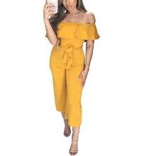 Гофрированный комбинезон с открытыми плечами женский пояс прямые брюки комбинезон пляжный комбинезон с высокой талией летний желтый элегантный костюм-комбинезон