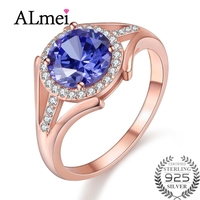 Almei Women Vintage Triple Rose Gold Color Rings Princess Cut Tanzania Color Topaz Silver 925 Wedding Rings with Box 40% FJ100