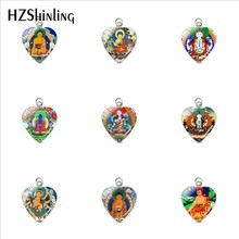 Vintage Buddha Statue Buddhist India Buddhism Symbolism Heart Charms Stainless Steel Jewelry Heart Pendant Accessories(China)