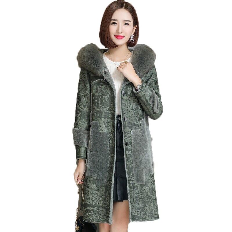 En Long Double face Des Tonte D'hiver Véritable Moutons Manteau Green Fourrure Capuche Coréenne De Femmes Veste Manteaux Laine Doublure 2019 À Zt368 Yw0xz47qUx
