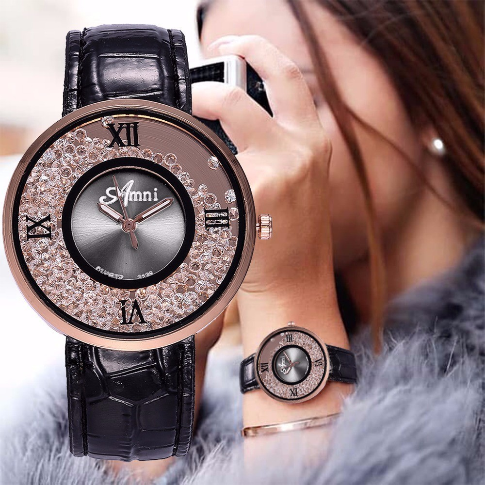 Fashion Women Rhinestone Watches Luxury Leather Women Dress Watch Casual Quartz Watches Relogio Feminino