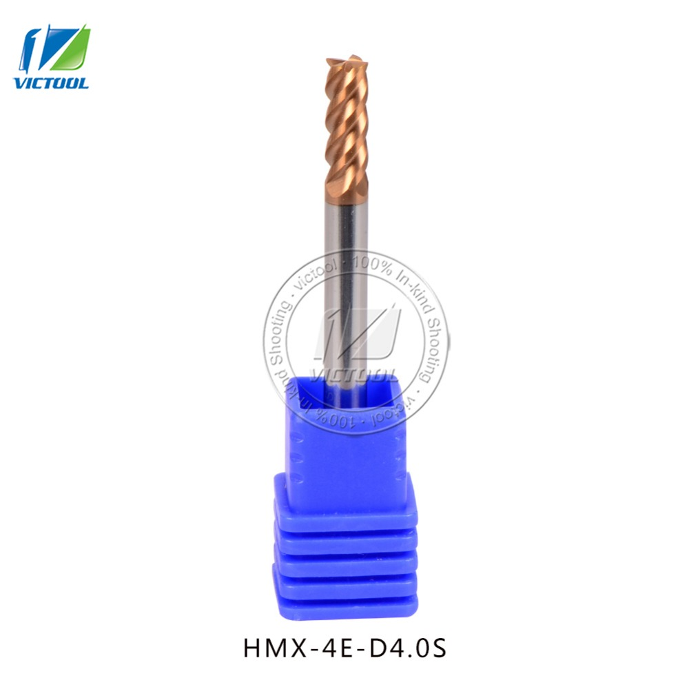 3pcs/lot high-hardness steel machining series HMX-4E-D4.0S  4 flute flattened end mills with straight shank face milling  цены