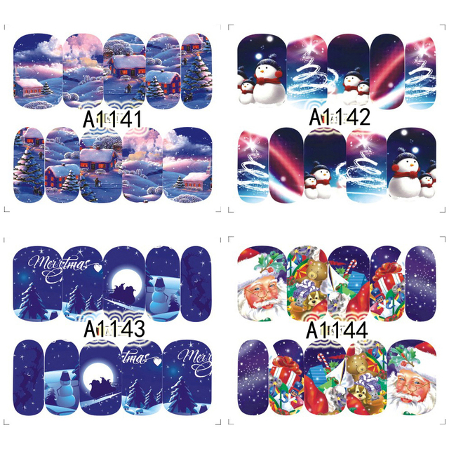 12PCS Christmas Snowman Tree Boots Bells Deer Water Transfer Nail Art Sticker Decal Slider Manicure Wraps Tool Tips JIA1129-1176