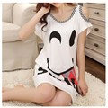 Big Size Cute Printed Women's Sleepwear Sexy Off The Shoulder Nightgown Female Summer White Nightdress Casual Indoor Clothing