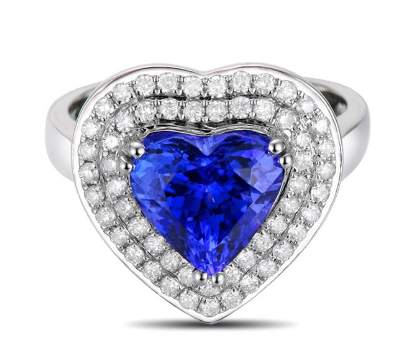 Роскошный 2.75 карата 925 серебро Романтический форме сердца сапфир синтетический Diamant кольцо танзанит украшения для женщин (см)