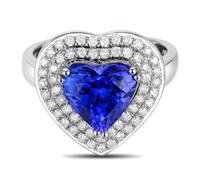 luxurious 2.75 carat 925 sterling silver romantic heart shape sapphire synthetic diamant ring tanzanite jewelry for women (CM)