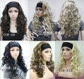 Ladies 3/4 Wig With headband blonde Natural Curly long synthetic half wig Heat Resistant queen Cosplay hair wigs fast deliver