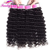 Funky Girl Peruvian Deep Wave Bundles Deals Hair Weave Bundles 100% Human Hair Extensions Natural Color Non-Remy Hair 1/3/4 pcs(China)