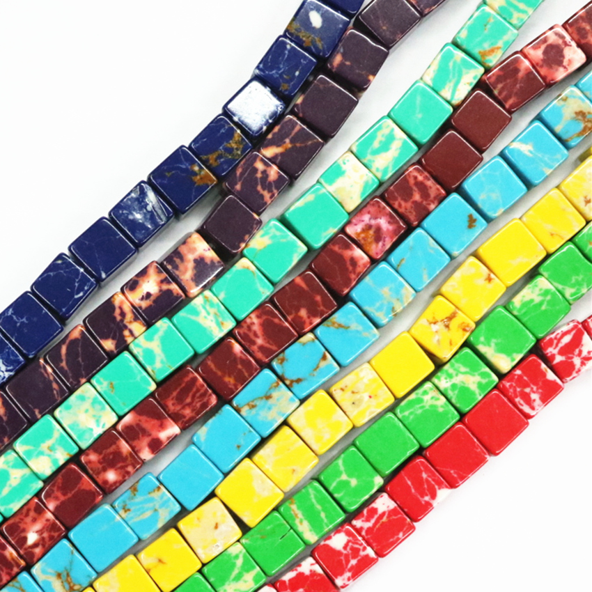 HUANHUAN Jewelry 8mm Charms Natural Multicolor Emperor Stone Cube Bead Imperial Loose Beads For Jewellery Making 15inch B3258