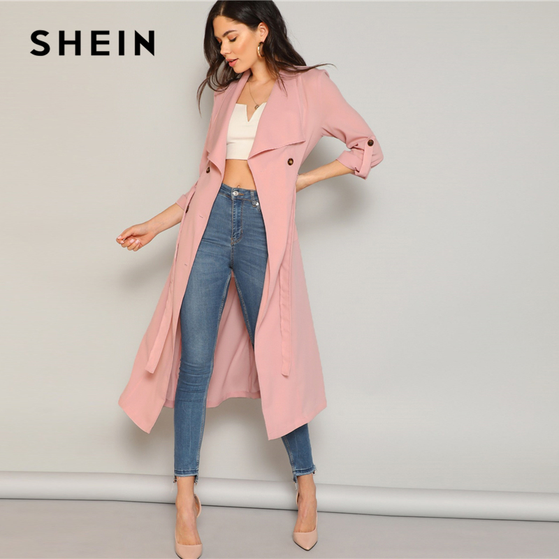 SHEIN Pastel Pink Draped Collar Rolled Tab Sleeve   Trench   Coat Women Double Buttoned Outerwear Spring 2019 Elegant Long Coats
