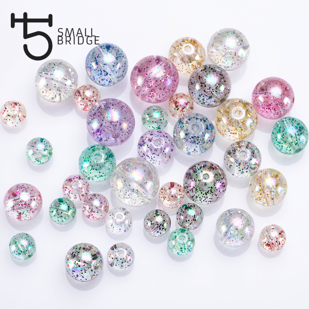 20mm Large Mixed Color Round Resin Beads Jewelry Making Diy Accessories Material with Hole Spacer Glitter Beads Wholesale P501 title=