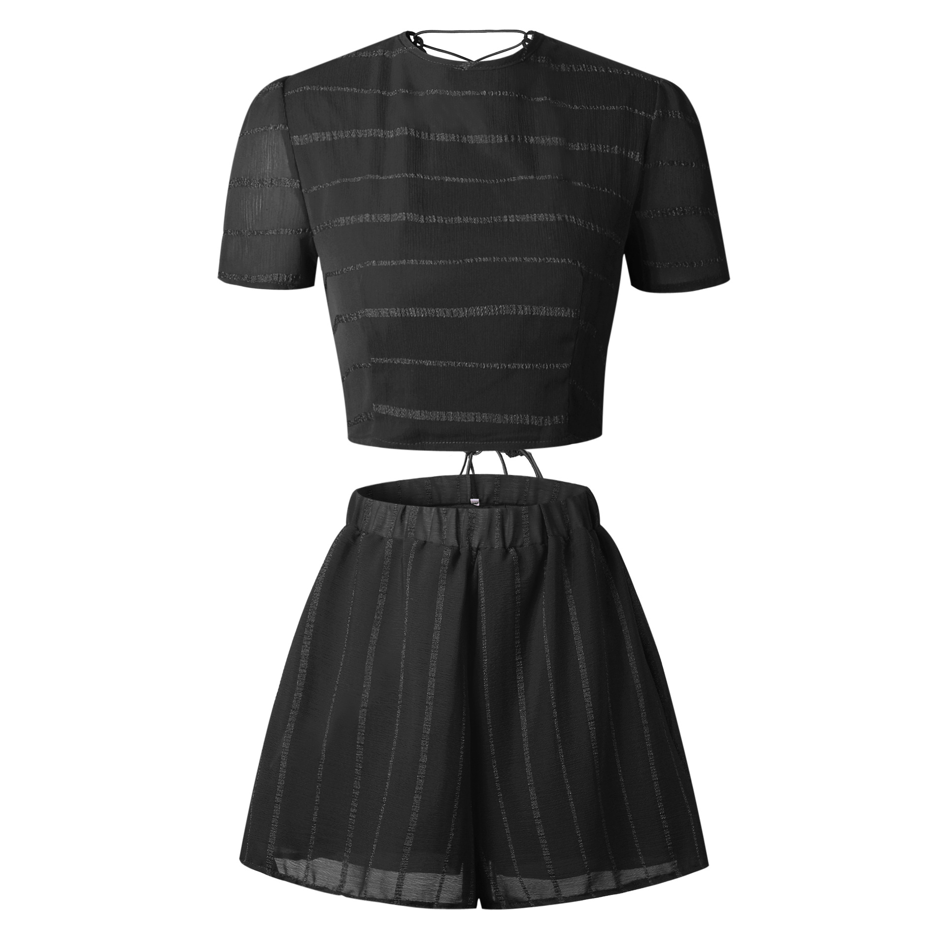 Fashion Lace-up Back Sets 2-piece Set For Women Spicy Short Sleeve Backless Crop Planting Top Fatal Red Black Shorts Costumes