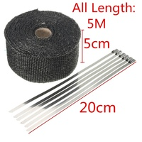 New Black 1 6mm X 5cm X 5m Roll Black Titanium Thermal Exhaust Header Pipe Heat