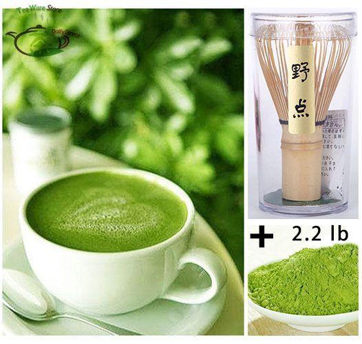 1x 35.2oz/1kg Health Tea 100% Pure Organic Matcha Green Tea Powder -4*250g bag  + Japanese Chasen Bamboo Whisk Tool Set Pack