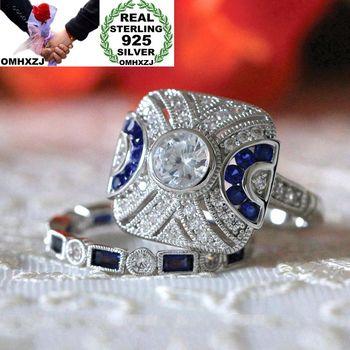 6de3211e8620 OMHXZJ europea al por mayor moda mujer hombre boda fiesta regalo cuadrado  blanco azul AAA Zircon