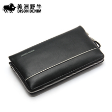 BISON DENIM Brand High Quality Men Clutch Bag Genuine Leather Handbags Large Capacity Men's Bag Cowhide Wallet Free Shipping