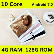 10.1 дюймов оригинальный 4 г планшетный ПК телефонный звонок Две сим-карты, Android 7.0 1920×1200 Дека core 128 ГБ таблетки шт Wi-Fi Bluetooth 10