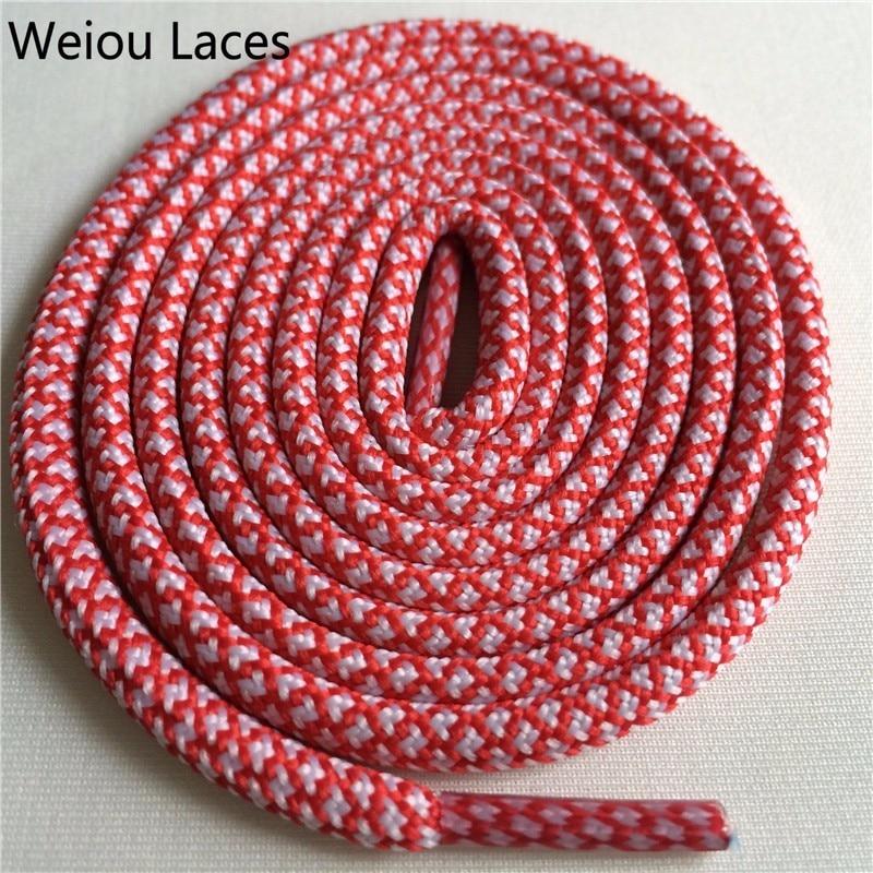 Weiou новые яркие цвета для пеших прогулок, двухцветные шнурки, сменные шнурки для обуви, круглые шнурки для баскетбола 750 - Цвет: 25White Red Scarlet
