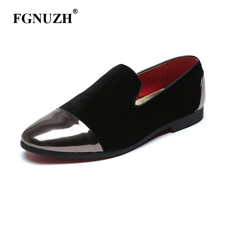 FGNUZH Fashion Men Party And Wedding Handmade Loafers Men Velvet Shoes and Gold Toe Big sequins Men Dress Shoe Men's Flats ST371(China)