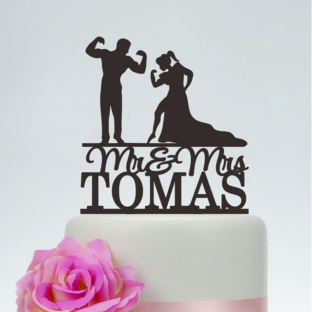 Muscle Man And Woman SilhouetteWedding Cake TopperCustom Bodybuilding TopperFunny