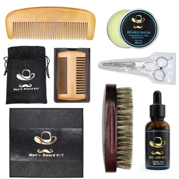 Beard Care Set Balm Beard Oil Comb Beard Brush Whiskers Scissor Moustache Styling Tools Kit Beauty 1