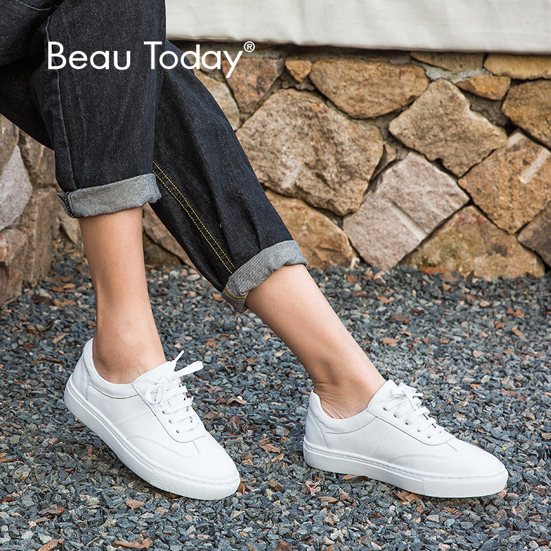 BeauToday Genuine Leather Flats Women Fashion Lace Up Round Toe Cow Leather Ladies White Shoes with
