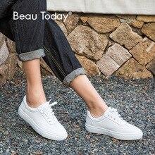 BeauToday Echt Leer Flats Vrouwen Mode Lace Up Ronde Neus Koe Lederen Dames Witte Schoenen met Doos 29017