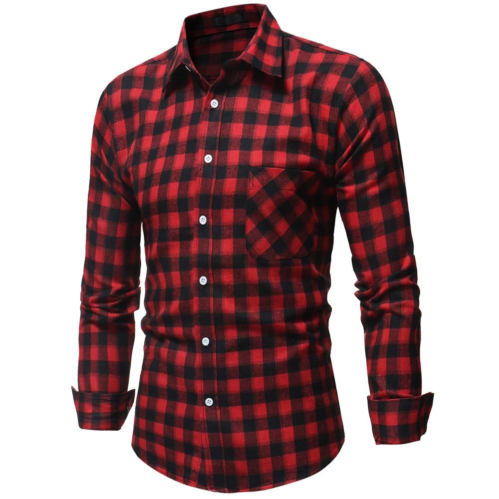 Men Plaid Shirt 2019 Fashion Long Sleeve Shirt Men Korean Wild Slim Fit Casual Flannel Shirt Plus Size Men Clothing Red