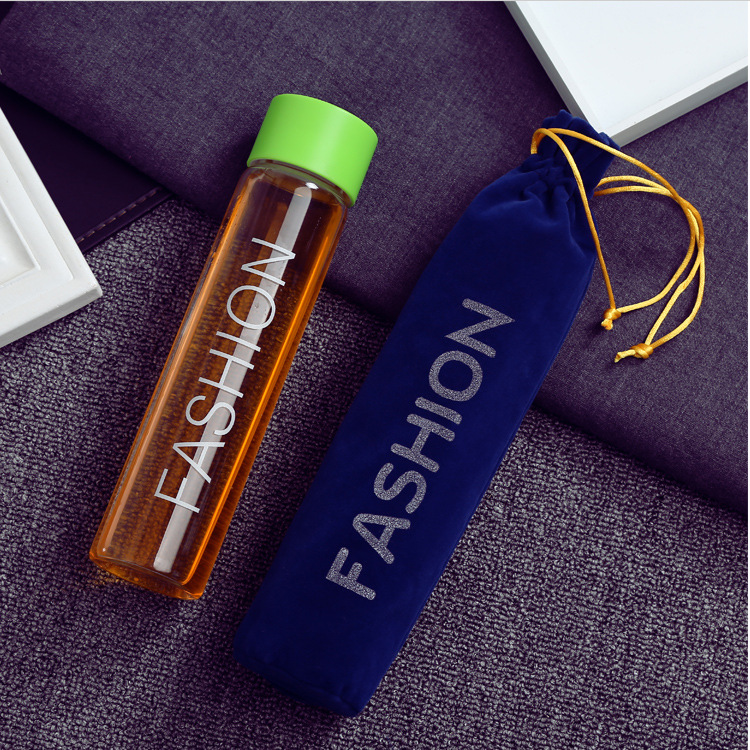 Couple fashion Water Glass Bottle Healthy Hydrogen Rich Water Bottle High Borosilicate Glass Ionizer Bottle Free gift bag