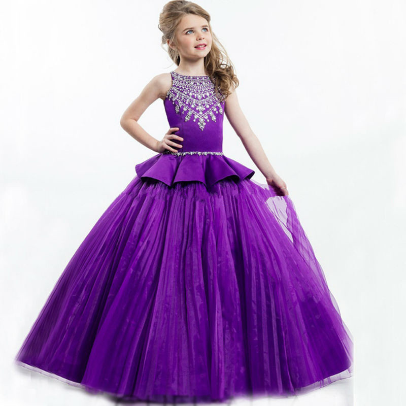 Luxury Shiny Flower Girl Dresses 2017 Kids Evening Gowns Ball Gown Beading Sleeveless Pageant First Communion Dresses Vestidos 2017 flower girl dresses elegant pageant dresses with sash ball gown first communion dresses for girl kids dress
